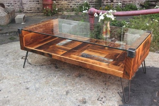 Reclaimed Wood & Tempered Glass Top Coffee Table throughout Wood And Glass Coffee Table