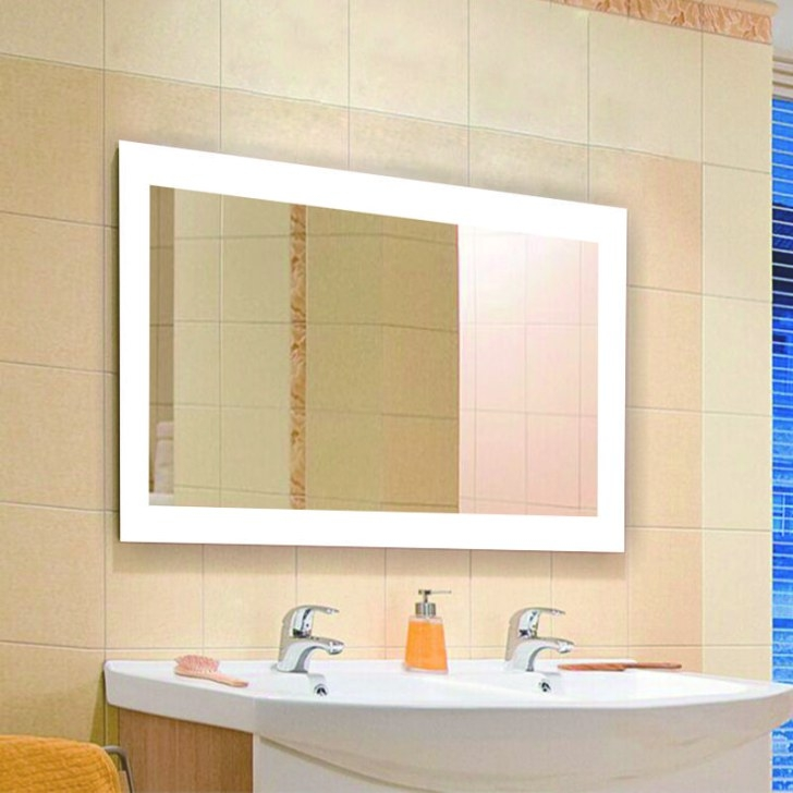 Rectangle Shape Mirror All Edges Led Lighted Bathroom regarding Rectangular Mirrors For Bathroom