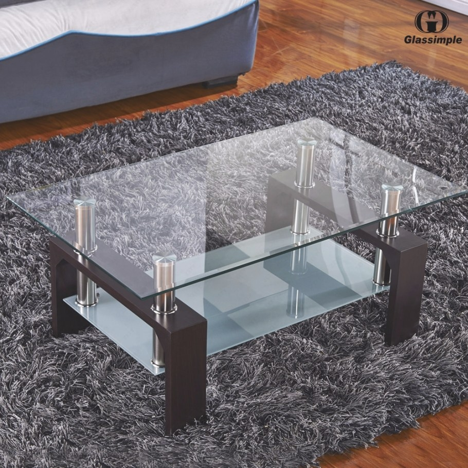 Rectangular Glass Coffee Table Walnut Wood Shelf Chrome regarding Wood And Glass Coffee Table