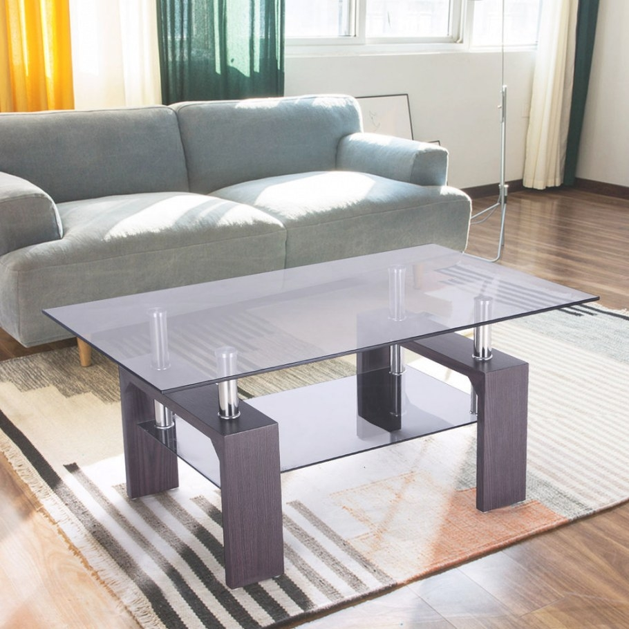 Rectangular Glass Coffee Table Wood W/ Shelf Living Room for Wood And Glass Coffee Table