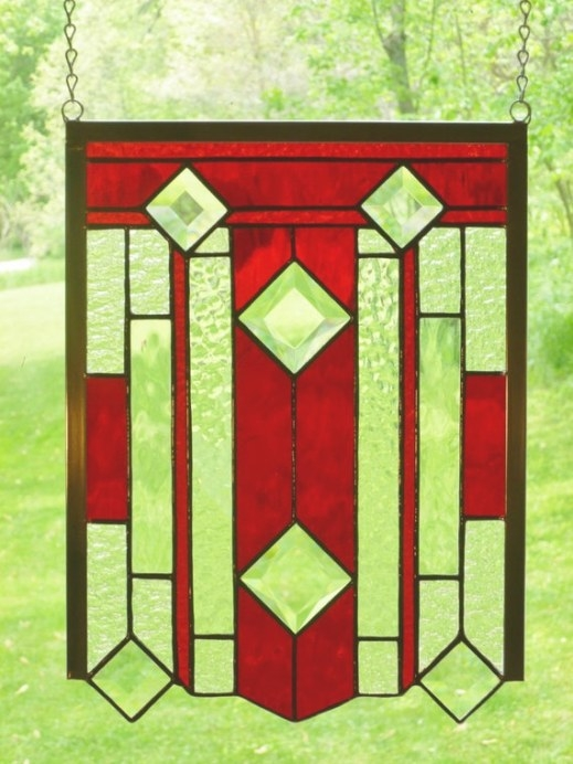 Red Craftsman Style Stained Glass Panel 15 X 11 Inches throughout Craftsman Stained Glass Panel Collection