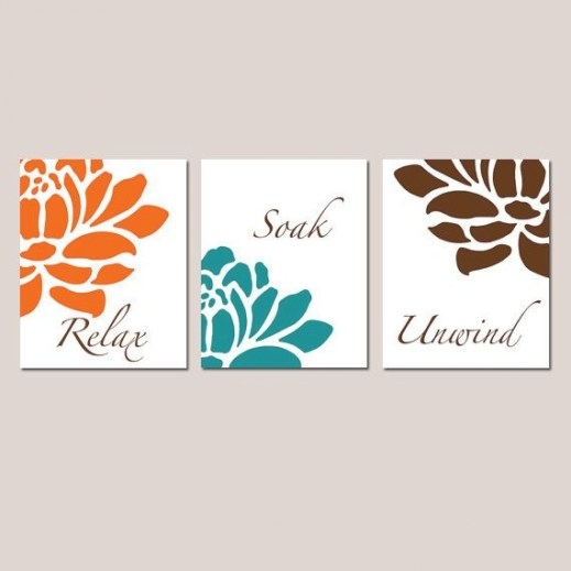 Red Orange Teal Brown Floral Bathroom Art - Set Of Three with regard to Teal And Brown Bathrooms