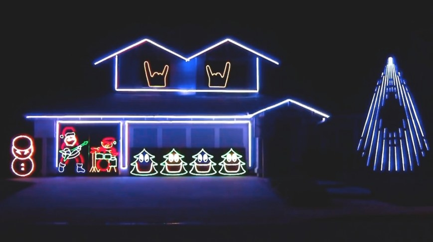 Reindeer Horns Up! This Man'S House Has An Animated pertaining to Light Up My Home