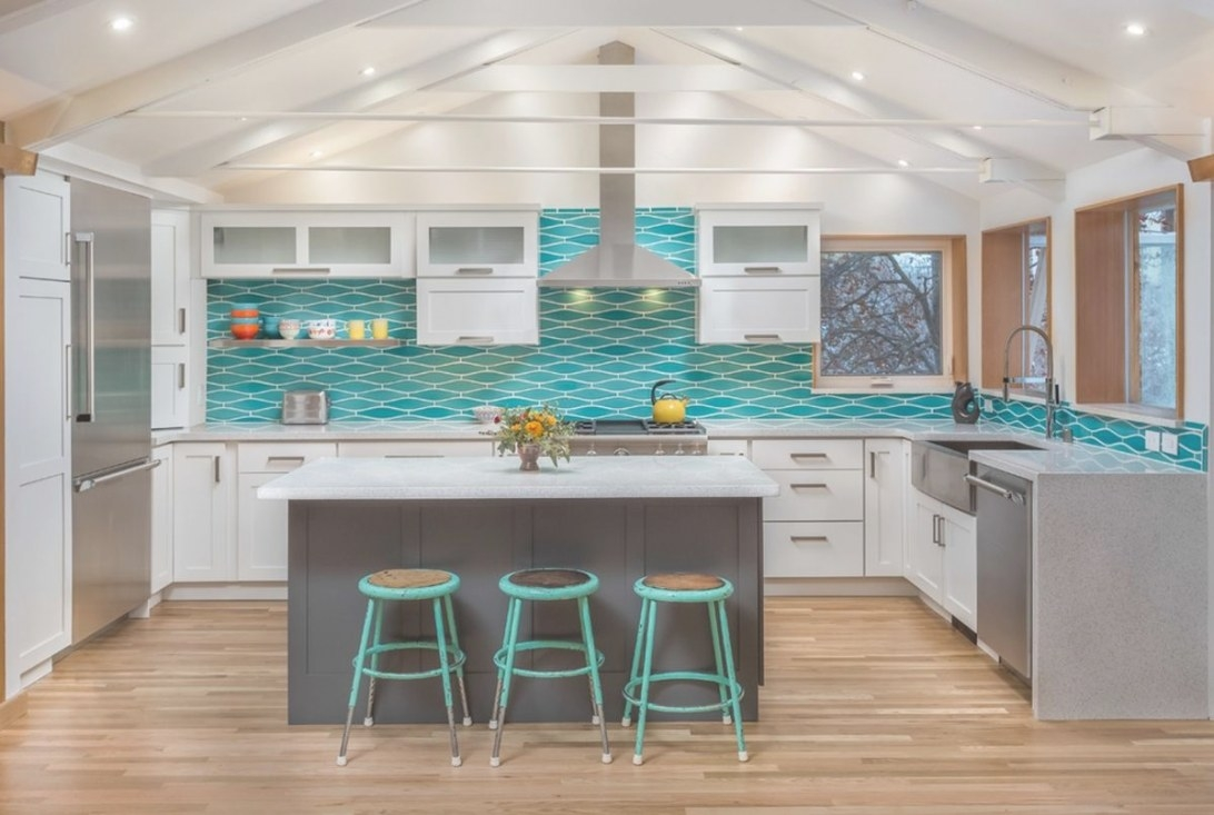 Remodeling Stories: A Splash Of Turquoise In A White intended for Teal And White Kitchen