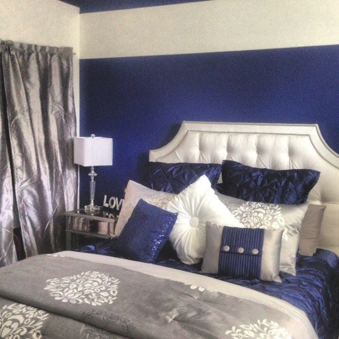 Royal Blue, Silver, White Grey. I'M Completely Obsessed In intended for Blue Grey And White Bedroom