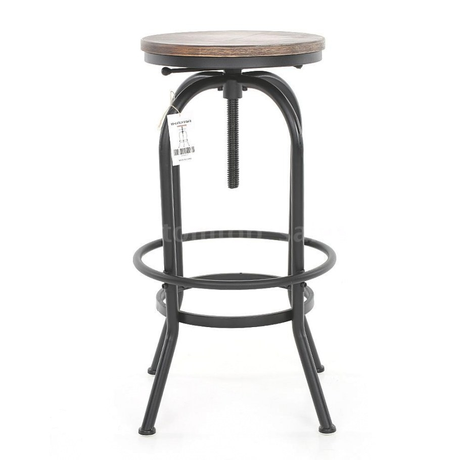 Rustic Industrial Bar Stools Wood Steel Adjustable Counter with regard to Counter Height Bar Stools