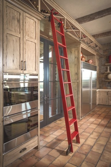 Rustic Kitchenthompson Custom Homes intended for Library Ladder In Kitchen