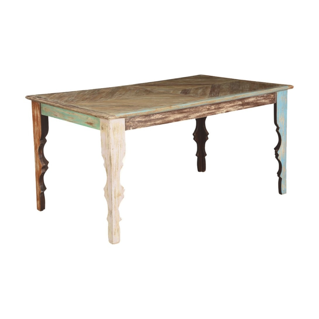 Rustic Parquet Diamond Mango Wood Dining Table in Mango Wood Dining Table