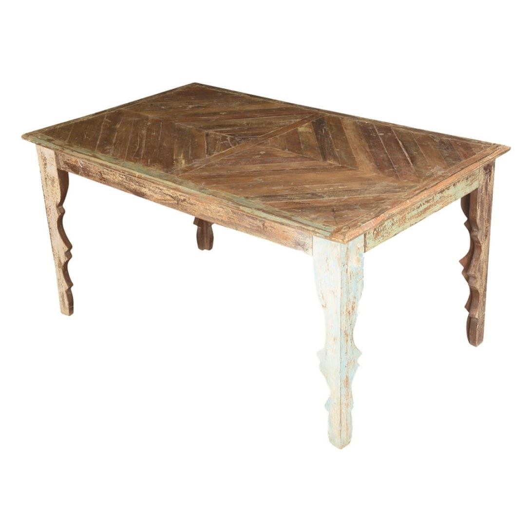 Rustic Parquet Mango Wood Dining Table W V Shaped Legs for Mango Wood Dining Table