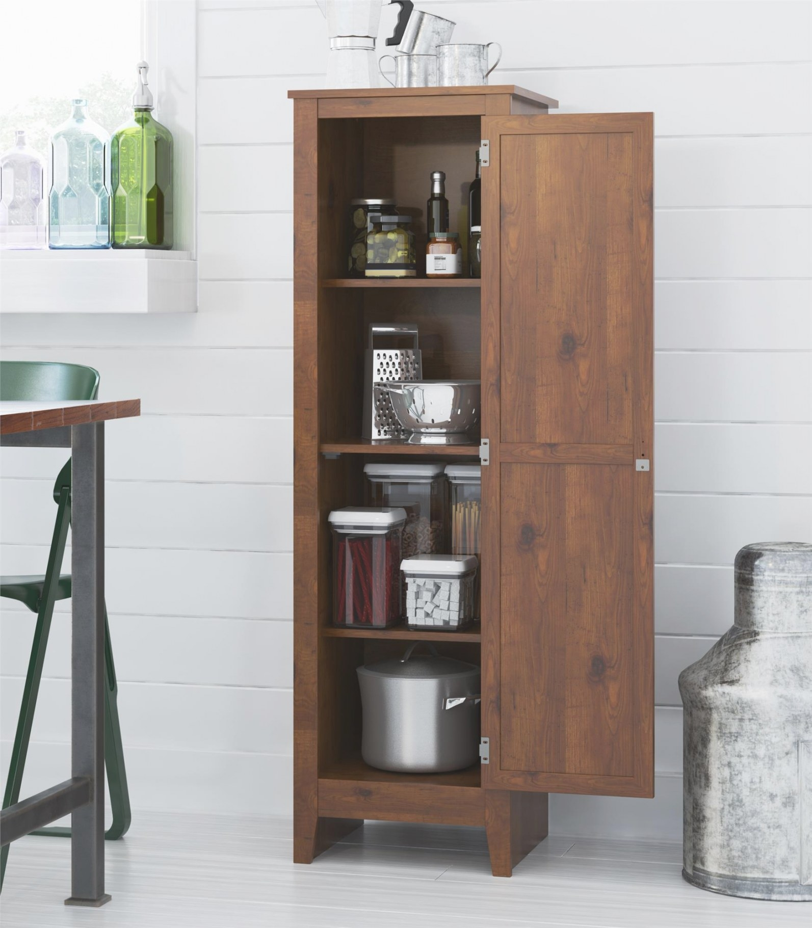 Rustic Single Door Storage Pantry Cabinet Organizer throughout Kitchen Pantry Storage Cabinet