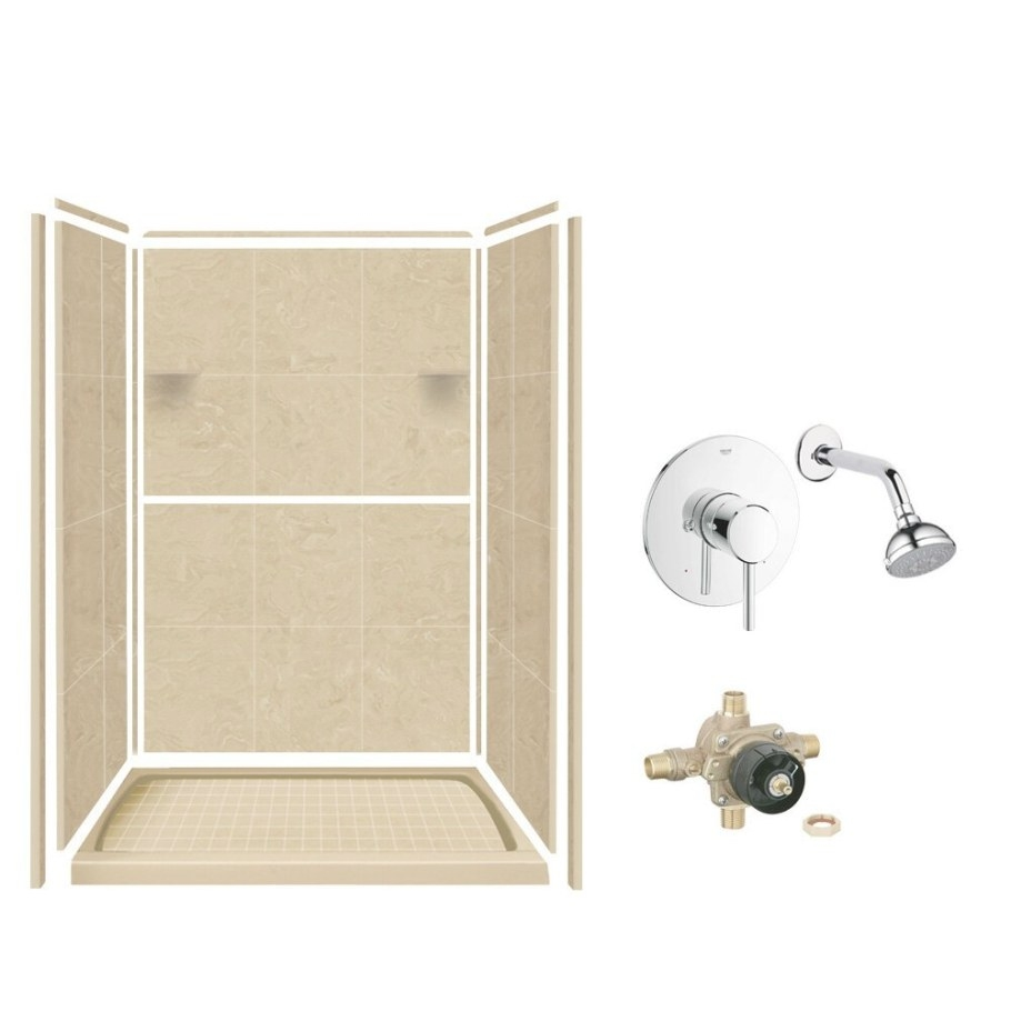 Samson Solid Surface Three Panel Shower Wall Kit | Wayfair.ca pertaining to Solid Surface Shower Wall Panels