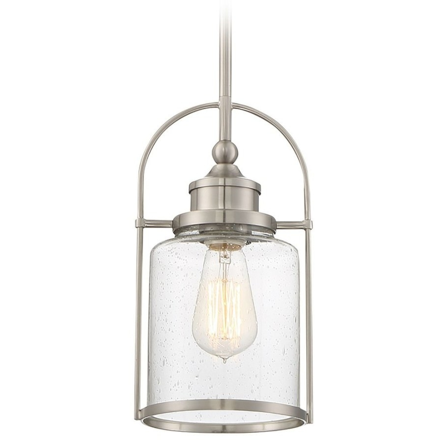 Seeded Glass Mini-Pendant Light Brushed Nickel Quoizel regarding Seeded Glass Pendant Light