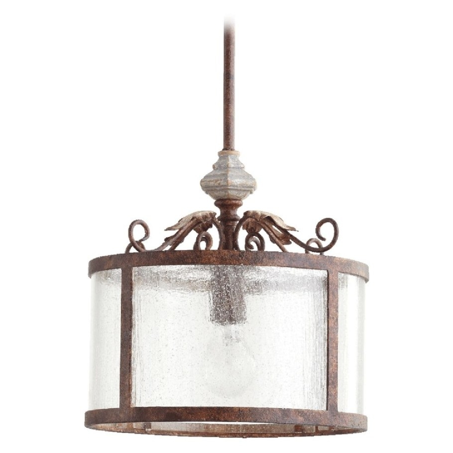 Seeded Glass Pendant Light Manchester Grey With Rust in Seeded Glass Pendant Light