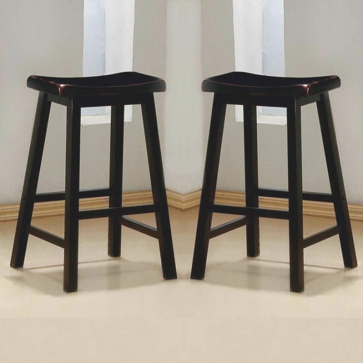 "Set Of 2 Sleek Black Solid Wood 29""H Saddle Counter Height throughout Counter Height Bar Stools"