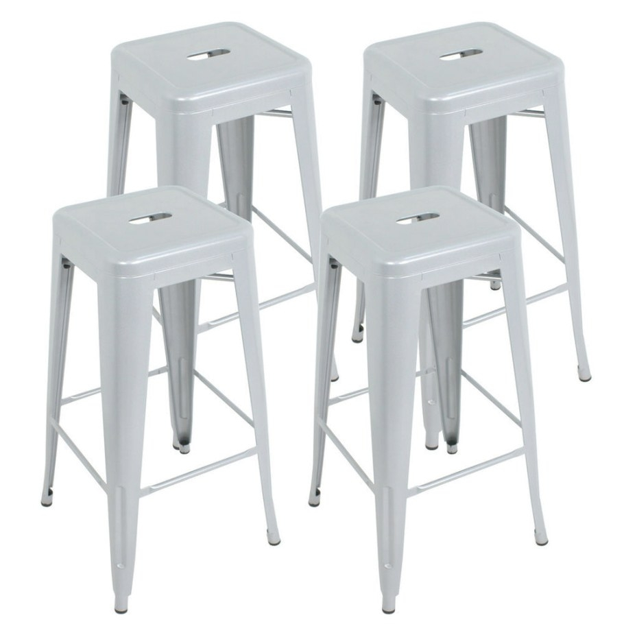 "Set Of 4 Modern Industrial Metal Bar Stools 30"" Seat intended for Counter Height Bar Stools"