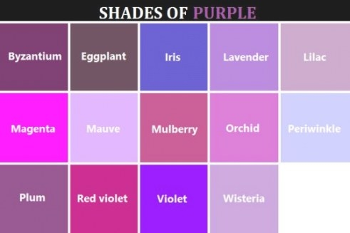 Shades Of Purple - Color Names | Purple Colour Shades inside What Colors Go With Purple