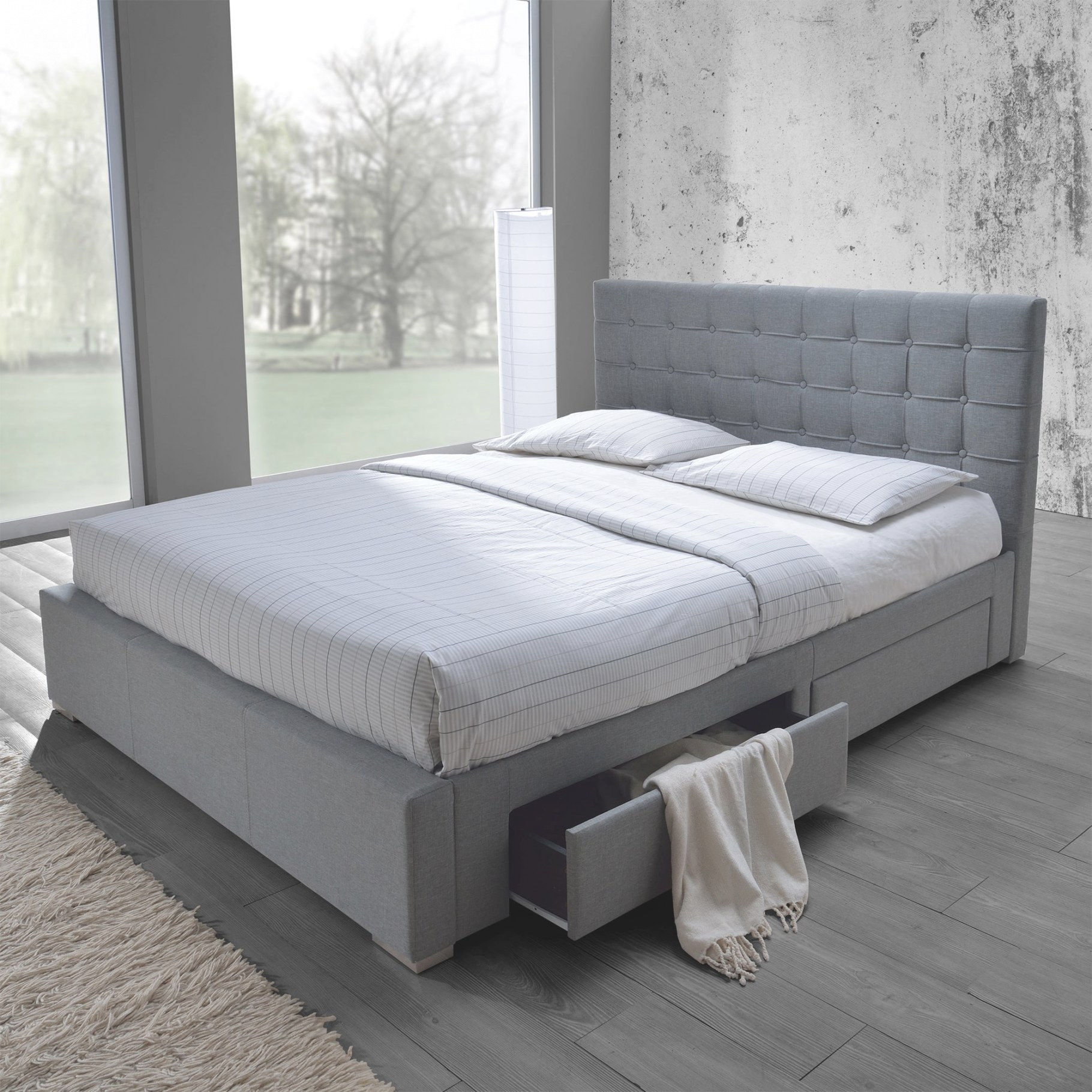 Shop Baxton Studio Adonis Modern And Contemporary Grey with regard to Platform Bed With Storage