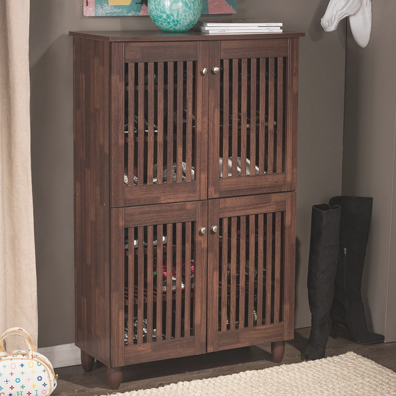Shop Baxton Studio Riddle Dark Brown Shoe Cabinet With 4 within Shoe Cabinet With Doors