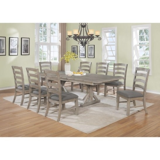 Shop Best Quality Furniture Rustic Grey Trestle 9-Piece with regard to 9 Piece Dining Set