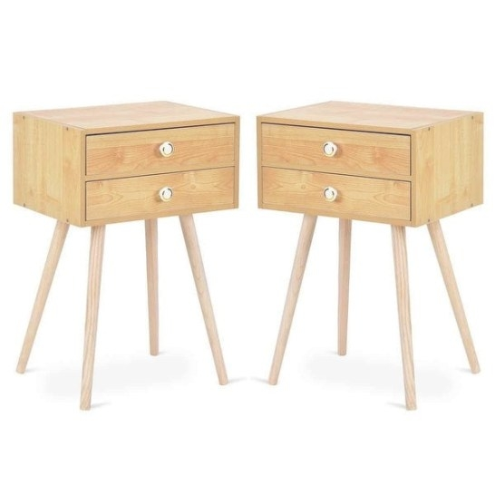 Shop Costway Mid Century Modern 2 Drawers Nightstand In inside Mid Century Modern Side Table