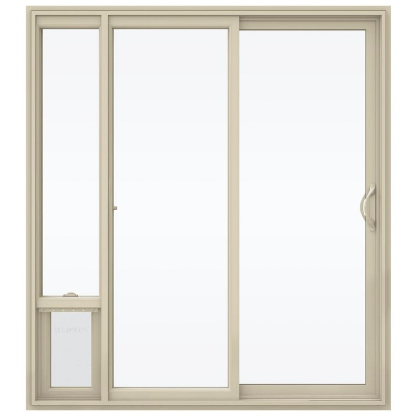 Shop Jeld-Wen Almond Vinyl Sliding Insulating Core Patio in Exterior Door With Built In Pet Door Lowes