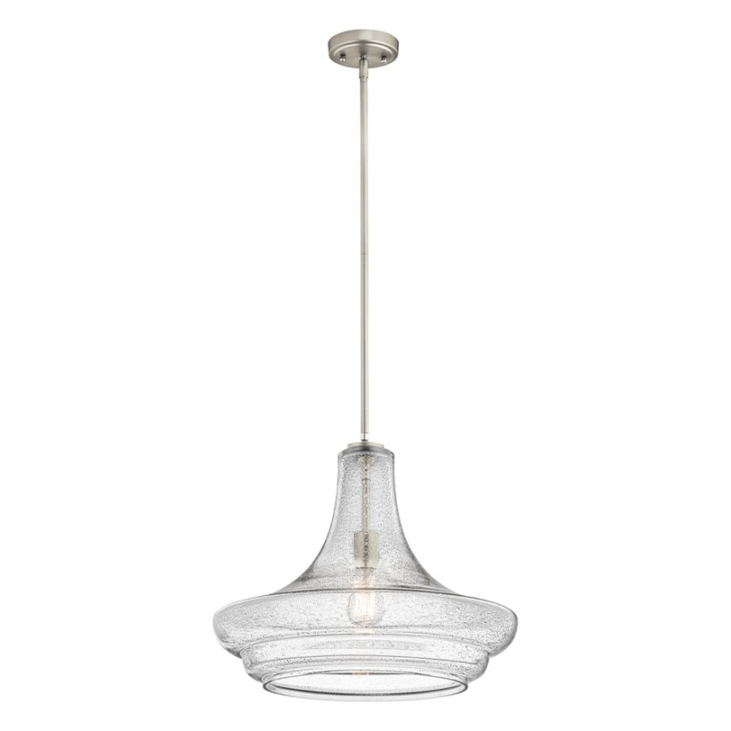 Shop Kichler Lighting Everly 19-In Brushed Nickel Vintage inside Seeded Glass Pendant Light