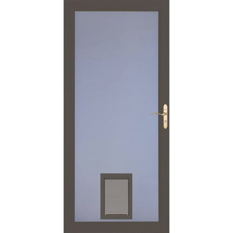 Shop Larson Signature Pet Door Brown Full-View Aluminum regarding Exterior Door With Built In Pet Door Lowes