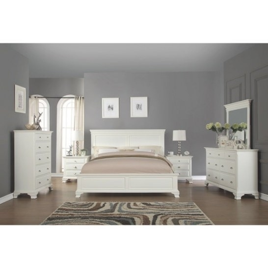 Shop Laveno 012 White Wood Bedroom Furniture Set, Includes in White And Wood Bedroom