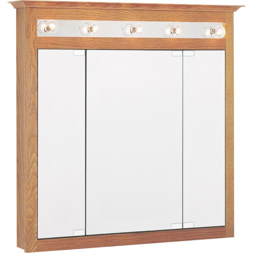 Shop Project Source 37.5-In X 36-In Oak Lighted Oak with regard to Medicine Cabinet With Lights