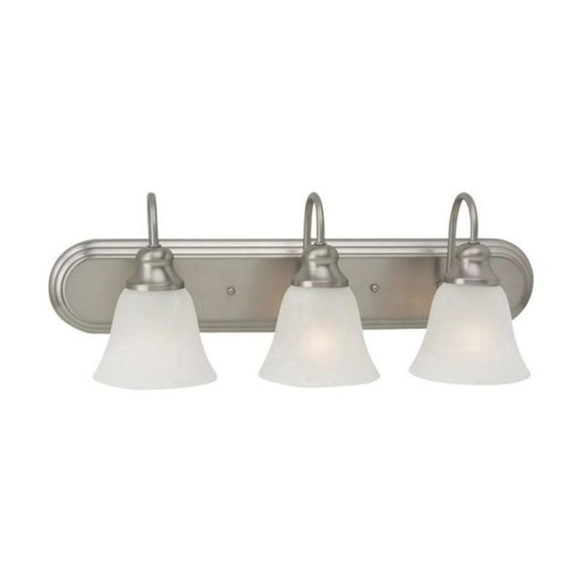 Shop Sea Gull Lighting 3-Light Windgate Brushed Nickel throughout Bathroom Vanity Lights Brushed Nickel