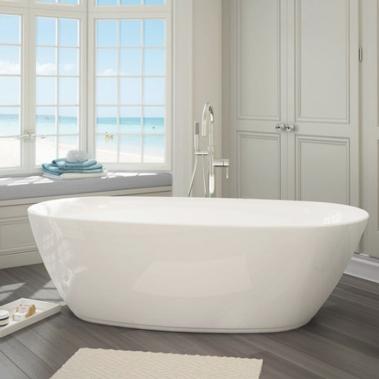 Shop Sequana White Acrylic Free-Standing Bathtub With pertaining to Free Standing Tub Shower