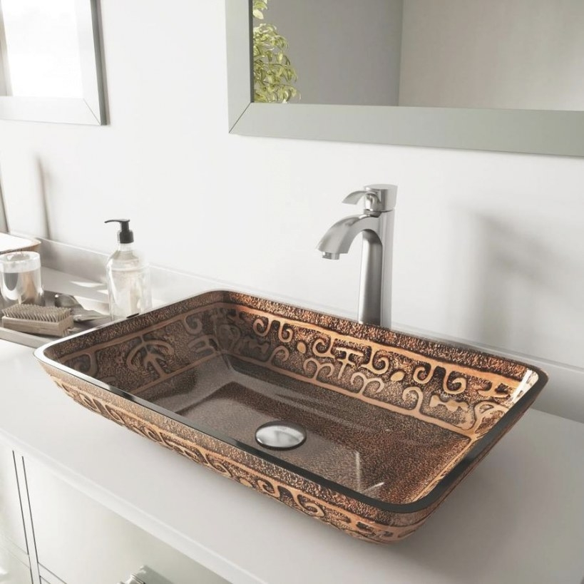 Shop Vigo Brown And Gold And Brushed Nickel Glass Vessel inside Brown And Gold Bathroom