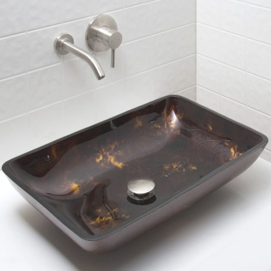 Shop Vigo Brown And Gold Glass Bathroom Sink And Olus Wall within Brown And Gold Bathroom