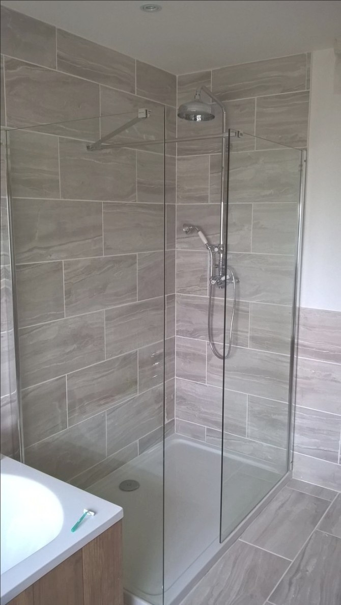Shower Complete. Fossilised Wood Effect Tiles | Shower within How Much Does It Cost To Replace A Tub With A Walk In Shower