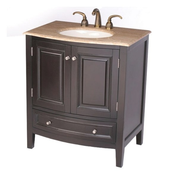 Silkroad Exclusive 32-Inch Travertine Stone Top Bathroom within 32 Inch Bathroom Vanity