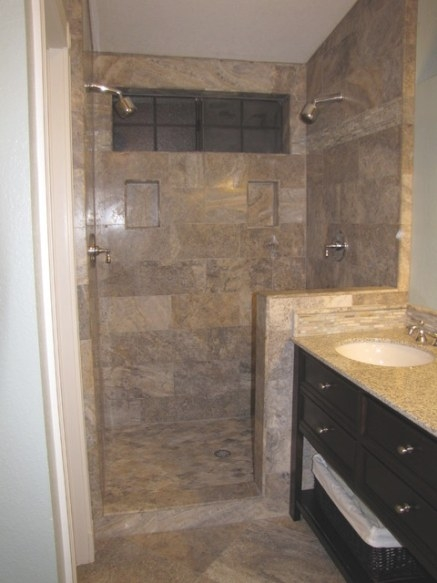 Silver 12X24 Vein Cut Travertine Tile Shower Surround for 12X24 Tile In Small Bathroom