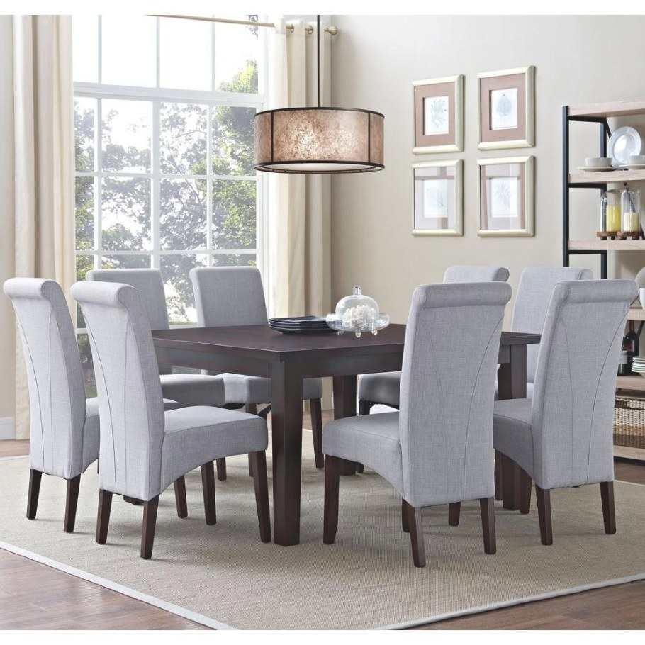 Simpli Home Avalon 9-Piece Dove Grey Dining Set-Axcds9-Avl regarding 9 Piece Dining Set