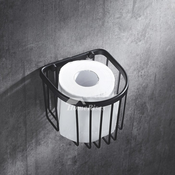 Small Net Shaped Black Paper Towel Holder Bathroom pertaining to Where To Put Toilet Paper Holder In Small Bathroom