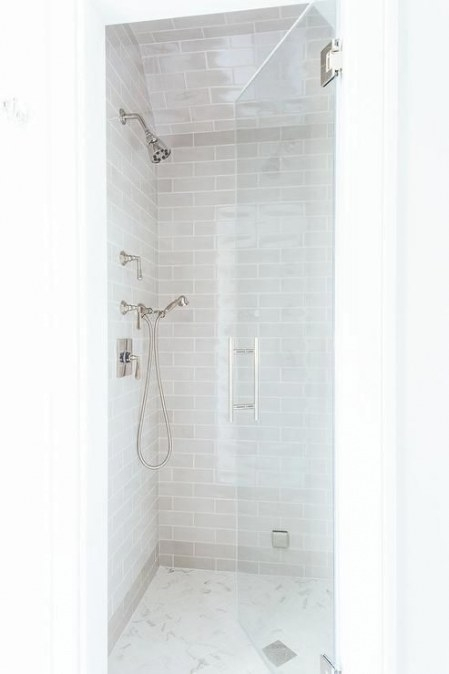 Small Walk In Shower Features Gray Subway Tiles On Ceiling within How Much Does It Cost To Replace A Tub With A Walk In Shower