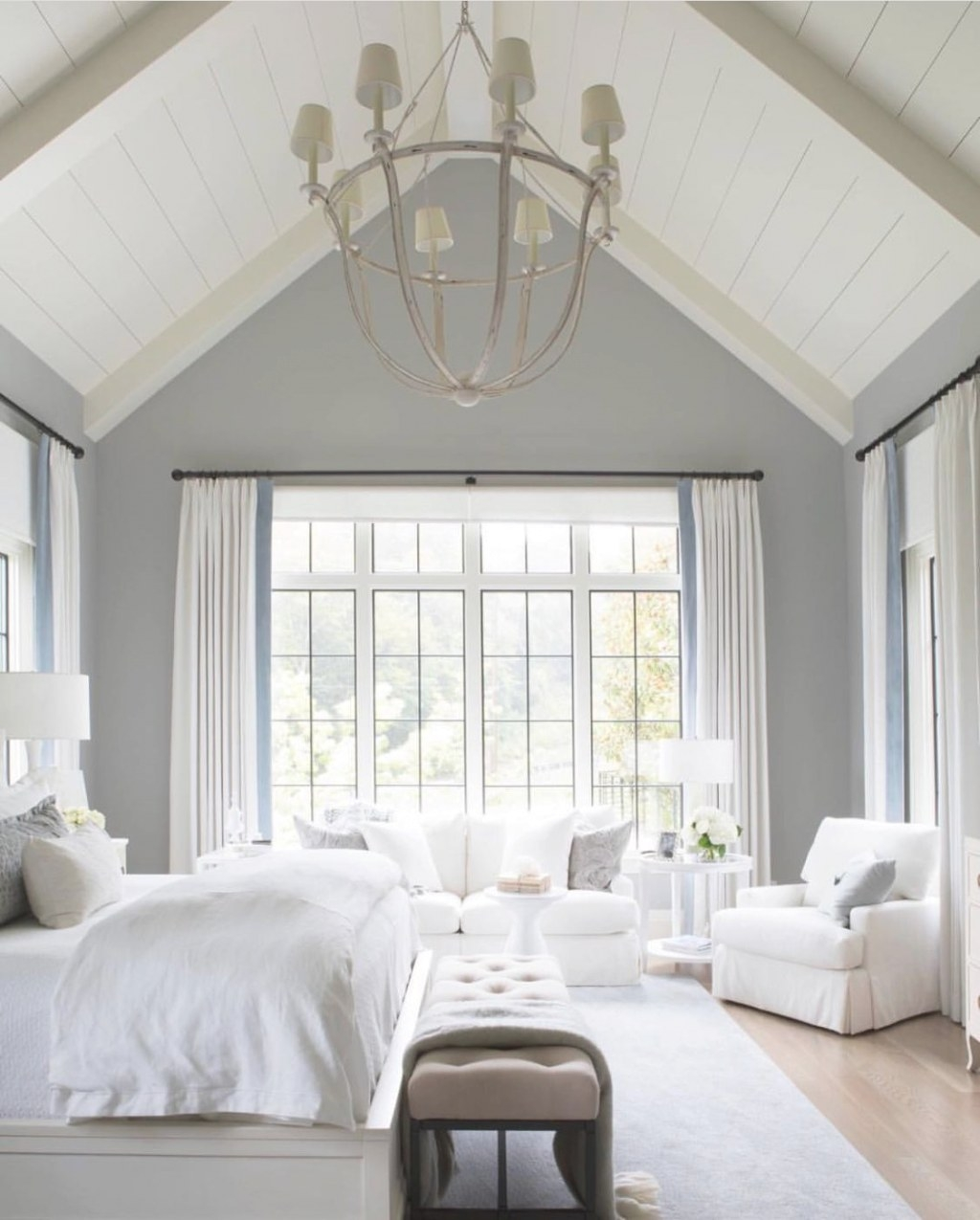 So Simple, So Pretty. Love The Shiplap Style, Wood Plank with White And Wood Bedroom