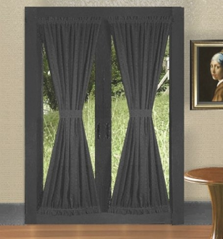 Solid Black Colored French Door Curtain At Best Price In Us with Curtains For French Doors