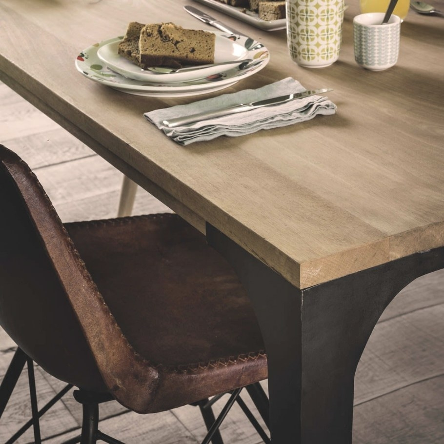 Solid Mango Wood Dining Table L180 Metropolis | Maisons Du for Mango Wood Dining Table