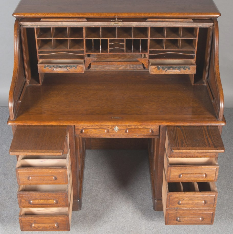 Solid Oak Roll Top Desk - Antiques Atlas intended for Oak Roll Top Desk