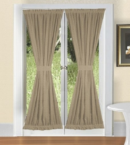 Solid Taupe-Khaki Colored French Door Curtain (Available inside Curtains For French Doors