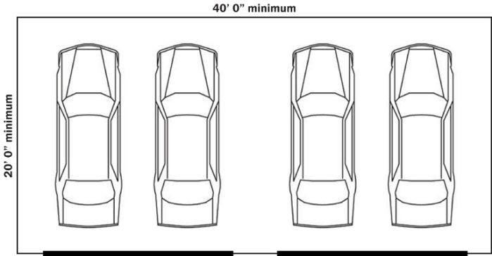 Standard Garage Sizes For 1, 2, 3, Or 4 Cars (With Chart) in 2 Car Garage Size