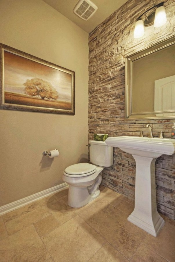 Stone Accent Wall In The Bathroom Adds Class And Needs regarding Accent Walls In Bathrooms