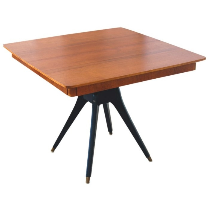Swedish Mid-Century Teak Pedestal Square Dining Table At regarding Mid Century Dining Table