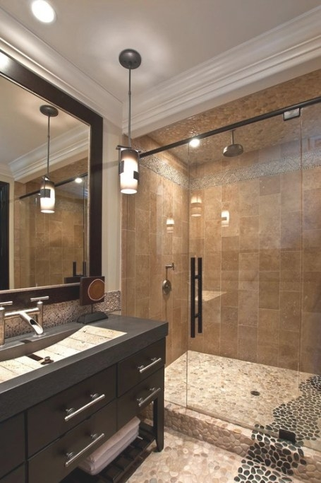 Tan & Black Pebble Tile Shower And Bathroom Flooring pertaining to Black And Tan Bathroom