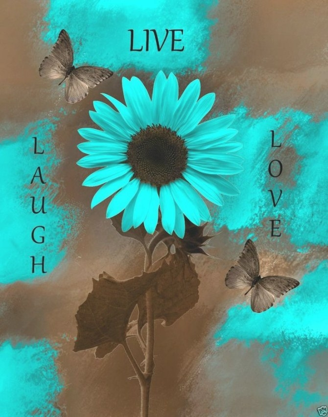 Teal+Brown+Wall+Art/Live+Laugh+Love/Sunflower+Butterflies inside Teal And Brown Bathrooms