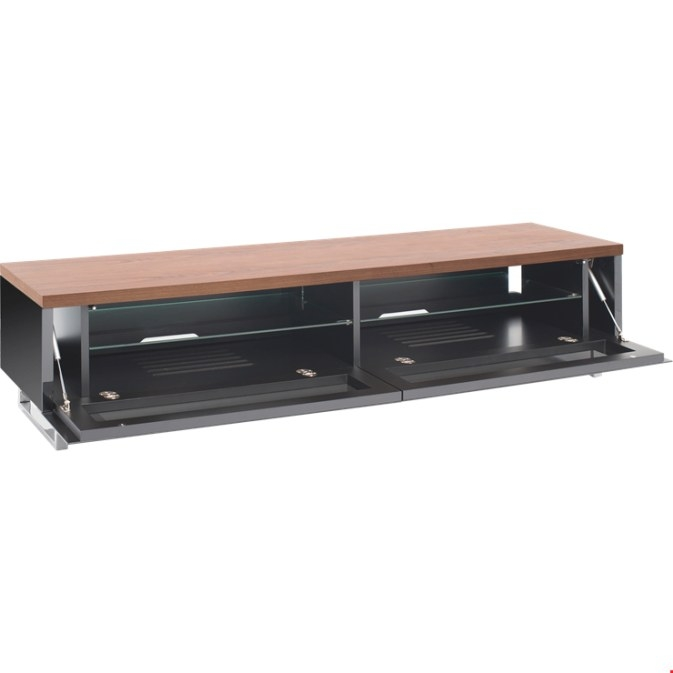 Techlink Panorama Pm160W+ Walnut Top & Gloss Black Tv with regard to 80 Inch Tv Stand